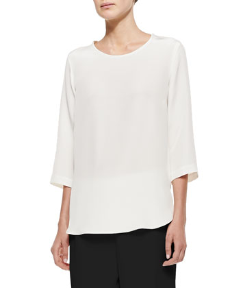 Silk Crepe Jewelry Top, Women's