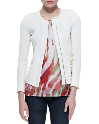 Brock Slim Textured Jacket, Shayla Sheer Printed Tee & Benthal Dark-Wash ...