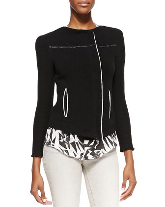 Dana Asymmetric Zip-Front Jacket, Black