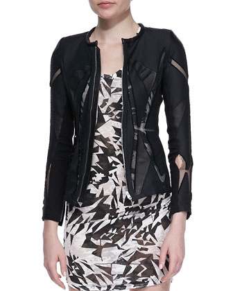 Allegra Mesh-Inset Jacket & Donovan Printed Slub Dress