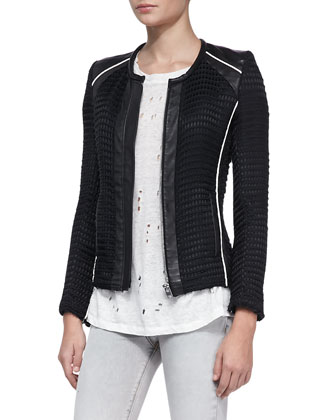Giana Leather-Trim Knit Jacket