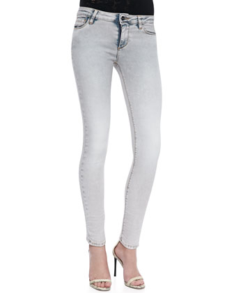 Nuala Knit-Trim Slashed Tee & Cole Faded Skinny Jeans