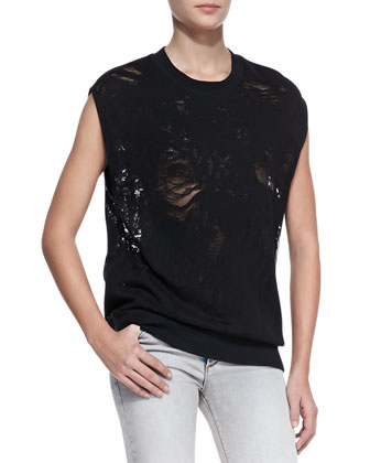 Nuala Knit-Trim Slashed Tee