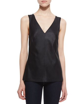 Lanis Leather-Front Top, Black