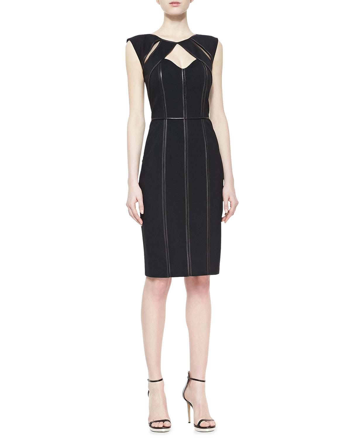 Womens Penelope Sheath Dress with Leather Piping   Catherine Deane   Black (10)