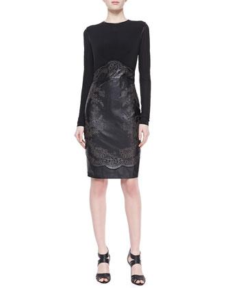 Pamela Jersey & Leather Combo Sheath Dress