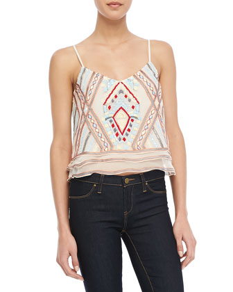 Sleeveless Tiered Embroidered Top