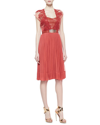Paige Lace Belted Chiffon Dress