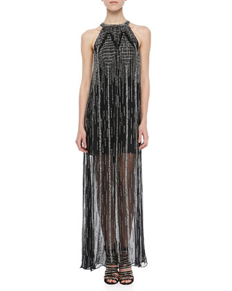Shane Beaded Halter Maxi Dress