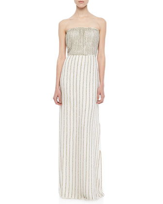 Lovey Beaded Strapless Maxi Dress