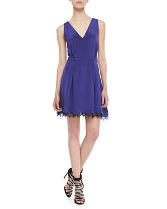 Collins Sleeveless Lace-Trim Dress