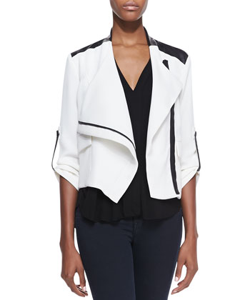 Blake Leather-Trim Moto Jacket