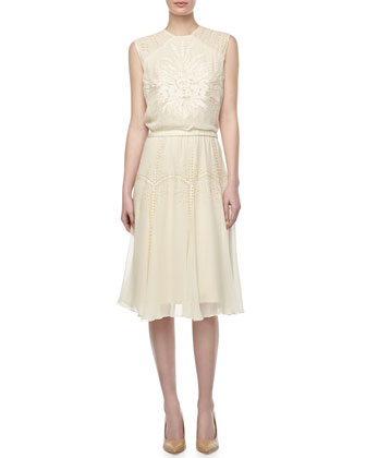 Ondrea Sleeveless Eyelet & Embroidered Dress, Cream