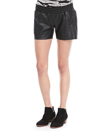 Faux-Leather Running Shorts