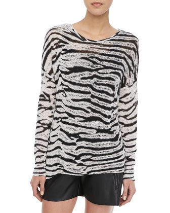 Judy Tie-Dye Long-Sleeve Top, Black/White