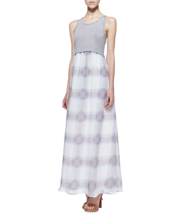 Beach Glass Plaid Maxi Dress