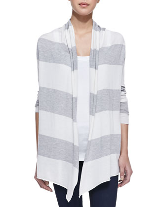 Striped Open Draped Cardigan, Gray