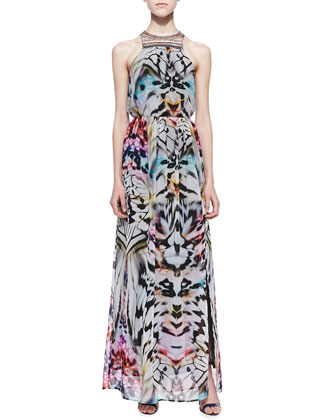 Ava Beaded-Neck Halter Maxi Dress