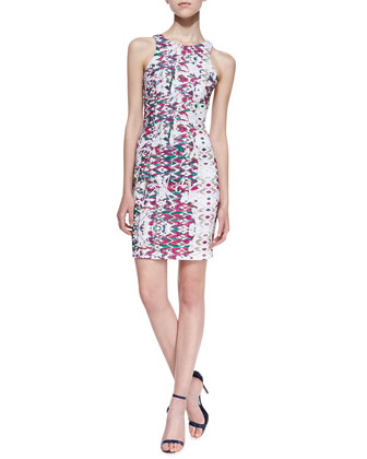 Printed Cutout Scuba Dress