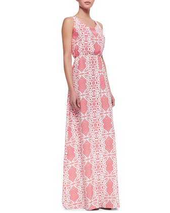 Cassie Racerback Silk Maxi Dress, Dragonfruit Madeira