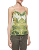 Sleeveless Relaxed Tropical-Print Camisole, Cynaria