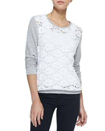 Leo Long-Sleeve Lace Front Top, Gray/White