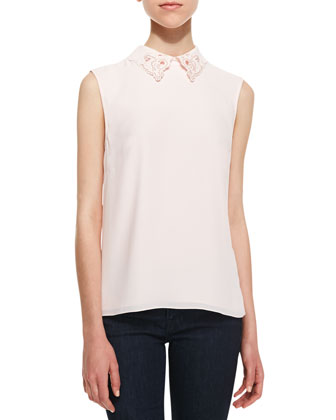 Umani Sleeveless Detailed Collar Top, Peach