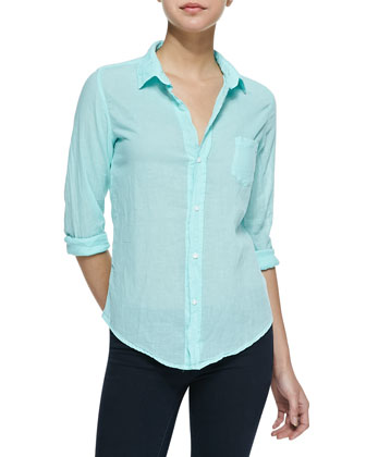 Barry Buttoned Voile Shirt, Light Green