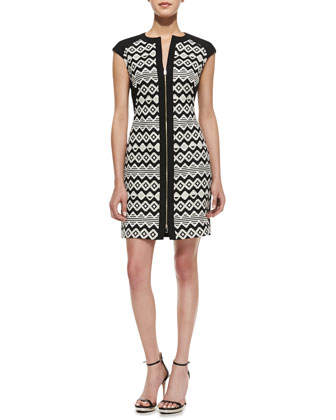 Etheled Diamond Zigzag Print Tunic Dress, Black