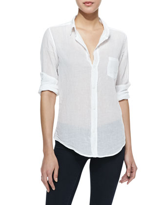 Barry Buttoned Voile Shirt, White