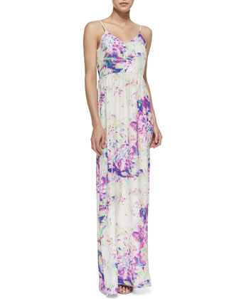 Nico Watercolor-Print Silk Maxi Dress, Purple