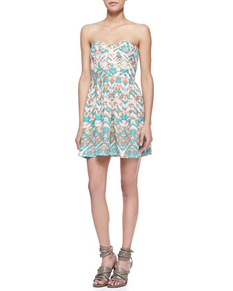 Lily Strapless Bermuda Sunrise Print Mini Dress