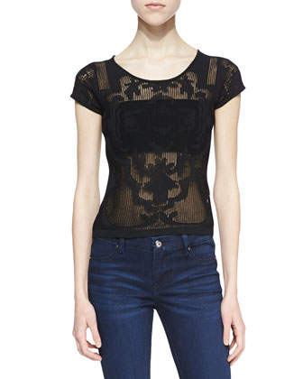 Corinne Sheer Knit Detail Top, Black