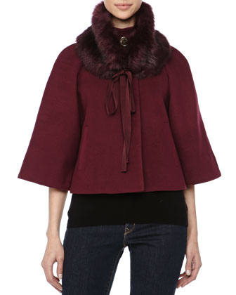 Nadja Removable Fur Collar Cape