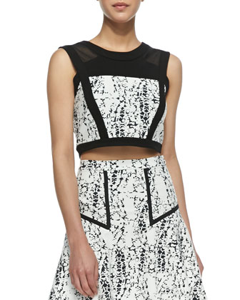 Bigi Splatter Print Crop Top, Black/White