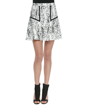 Beven Splatter Print A-Line Skirt, Black/White