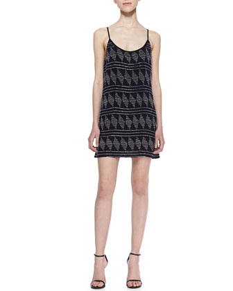 Lola Diamond Beaded Shift Dress, Black