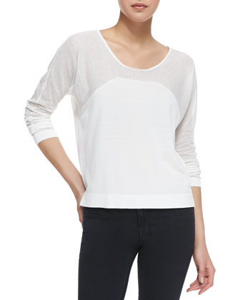 Long-Sleeve Half Moon Top, White