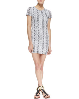 Riley Stretch-Knit Snake Print Dress, Black/White