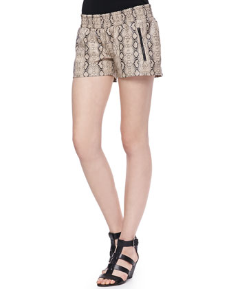 June Snake-Print Satin Shorts
