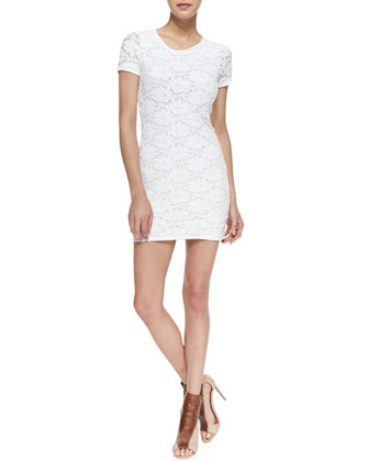 Tina Floral Lace Sheath Dress, White