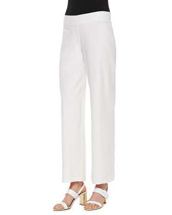 Washable Crepe Modern Wide-Leg Pants, White, Women's