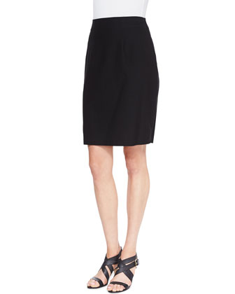 Lightweight Flutter Cardigan & Washable Stretch Crepe Pencil Skirt, Women's