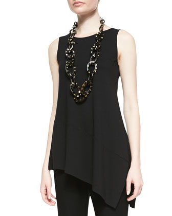 Sleeveless Asymmetric Jersey Tunic, Black, Petite