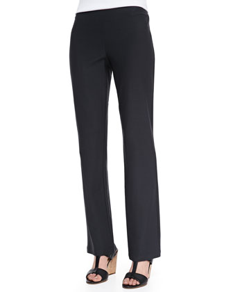 Washable-Crepe Boot-Cut Pants, Women's