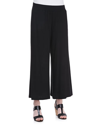 Wide-Leg Cropped Pants, Black