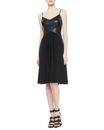 Ruth Sleeveless Leather & Chiffon Dress
