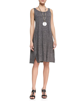 Scoop-Neck Melange Jersey Dress & Hand-Knit Cord Scarf