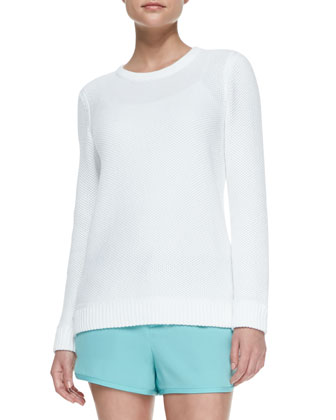 Rita Rib-Trim Perforated Pullover