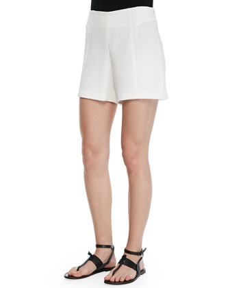 Florencia High-Waist Leather-Trim Shorts